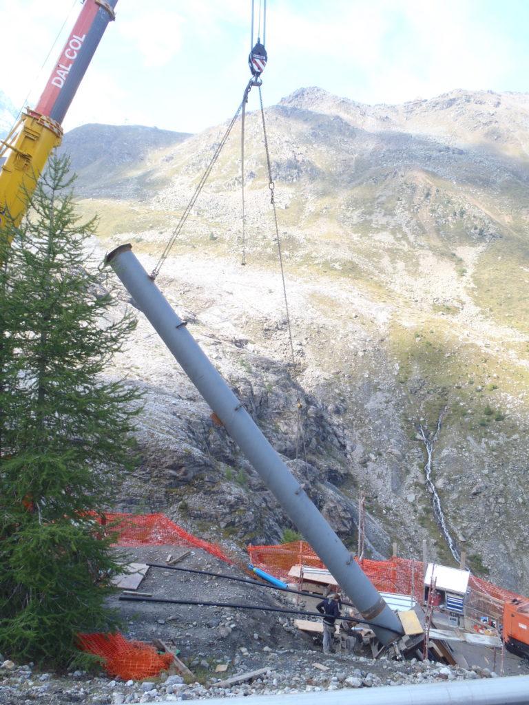 Verlegung von Rohrleitungen in der Vertikale